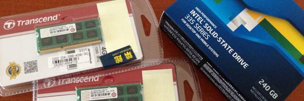 MacBook Proのメモリ増設とSSD化さらにwin7のインストール